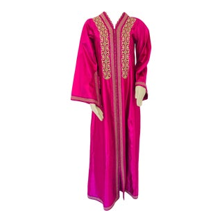 Moroccan Vintage Caftan 1970s Kaftan Maxi Dress Hot Pink Fuchsia For Sale