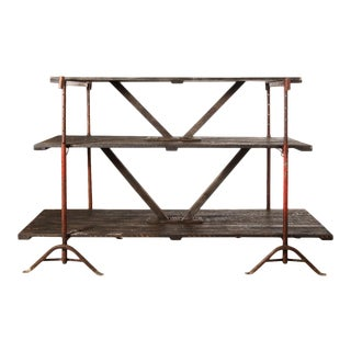 Industrial Wooden Shelving Rack For Sale