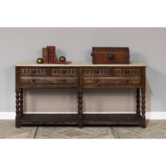 Wood Sarreid Console Table W/ Six Drawers For Sale - Image 7 of 8
