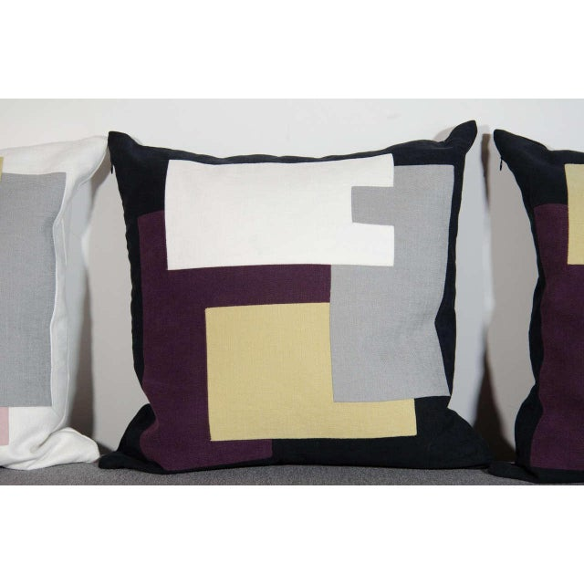 Architectural Italian Linen Throw Pillows by Arguello Casa For Sale - Image 4 of 9