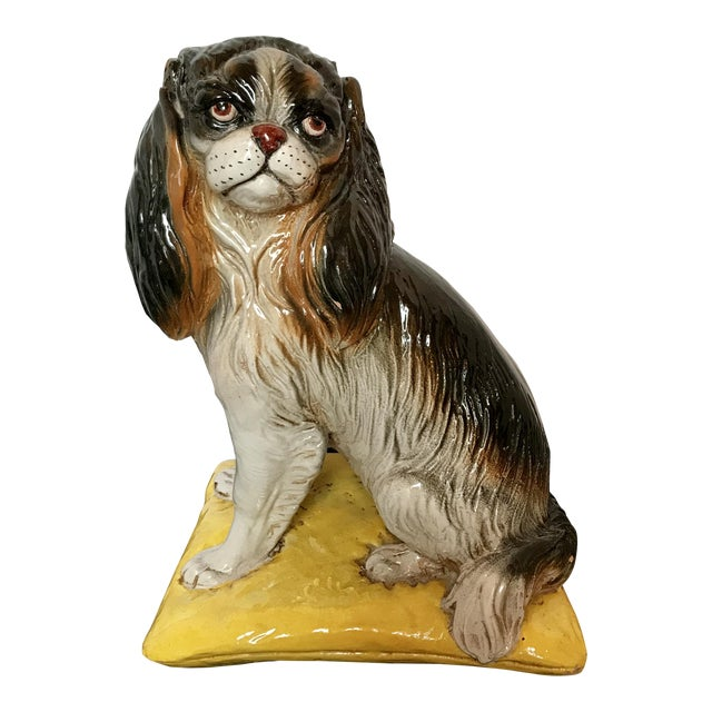 Italian Mid-Century Terracotta Life Size King Charles Spaniel Dog Sculpture For Sale