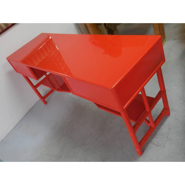 Red Slender Tommi Parzinger Attributed Desk for Willow and Reed For Sale - Image 8 of 10