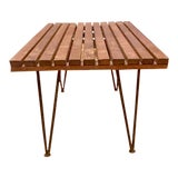 Image of Mid Century Modern Pipsan Saarinen Slat Table Bench With Hair Pin Legs For Sale