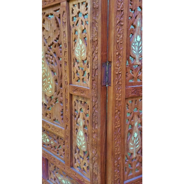 Carved Indian Screen with Brass Inlay For Sale - Image 5 of 7