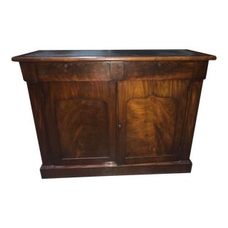 English Mahogany Leather Topped Side Cabinet, Circa.1840 For Sale