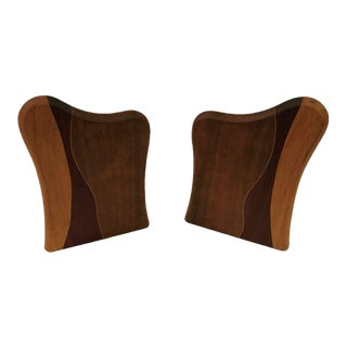 Multi-Tone Wood Bookends - A Pair