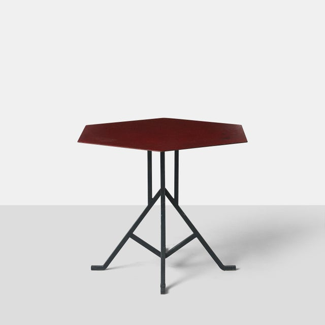 Mid-Century Modern Pair of Warren McArthur and Frank Lloyd Wright Iron Side Tables For Sale - Image 3 of 8