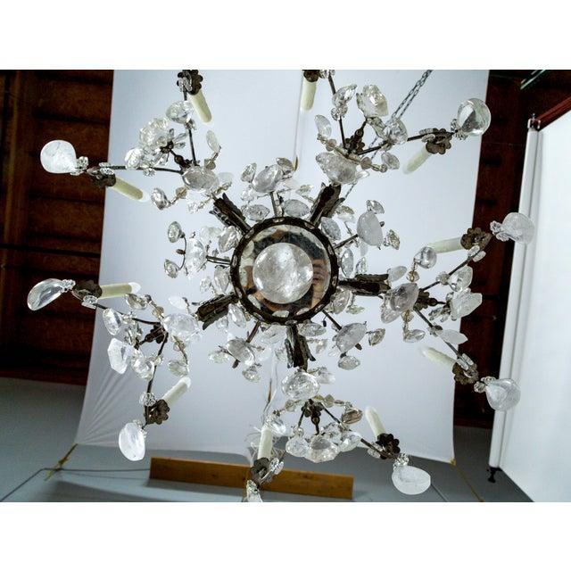 Rare Large Silver Gilt Bronze Rock Crystal Flower Bouquet 20-Light Chandelier For Sale - Image 11 of 13