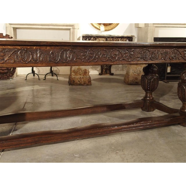 Brown Antique Oak Elizabethan Style Table, England 19th Century For Sale - Image 8 of 13