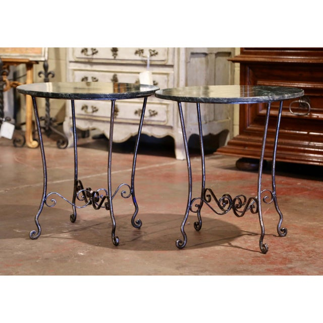 French Mid-Century French Polished Wrought Iron and Marble Patio Side Tables - a Pair For Sale - Image 3 of 9