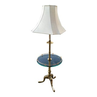 French Provincial Brass Table Floor Lamp & Silk Shade by Stiffel For Sale