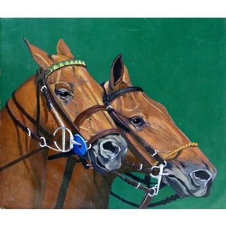 Jose Maria Ansalone Equestrian Polo Horse Oil Painting on Canvas For Sale