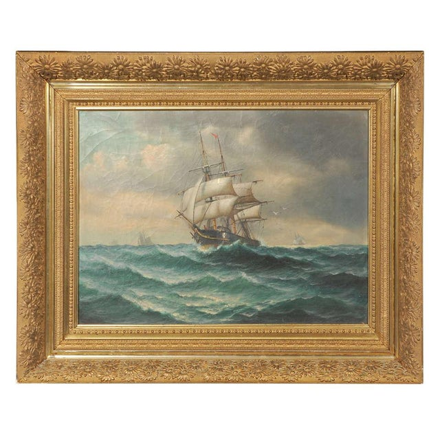 19th Century Signed American Oil Painting of a Ship at Sea For Sale - Image 10 of 10