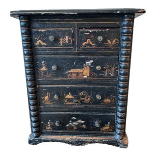 18th Century English Black and Gold Japanned Collector's Cabinet For Sale