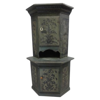 Swedish Original Painted Corner Cabinet For Sale