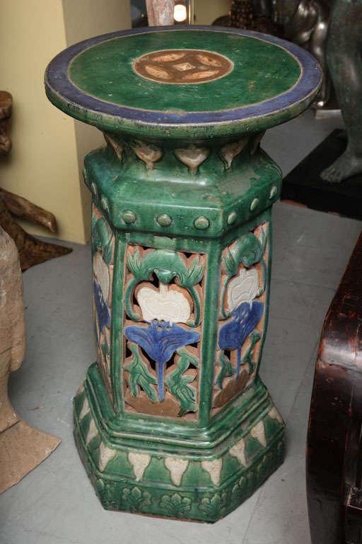 garden pedestal. french colonial art nouveau style garden pedestal made with glazed ceramic - image 3 of 10