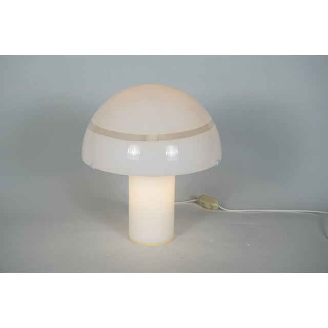 Murano Modern White Murano Glass Mushroom Lamp Illuminated From Within For Sale - Image 4 of 8