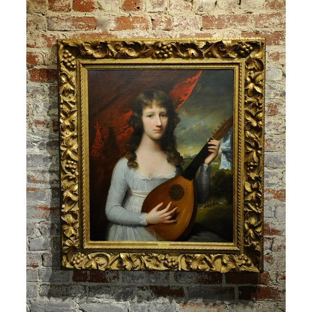 John Singleton Copley -Girl Playing the Lute-18th Century Oil Painting For Sale - Image 12 of 12