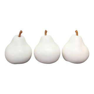 Three Great Ceramic Pears With Stems