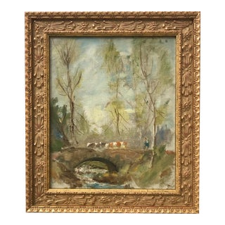 Antique French Impressionist Landscape Oil Painting by Theodora Moore 1921 For Sale