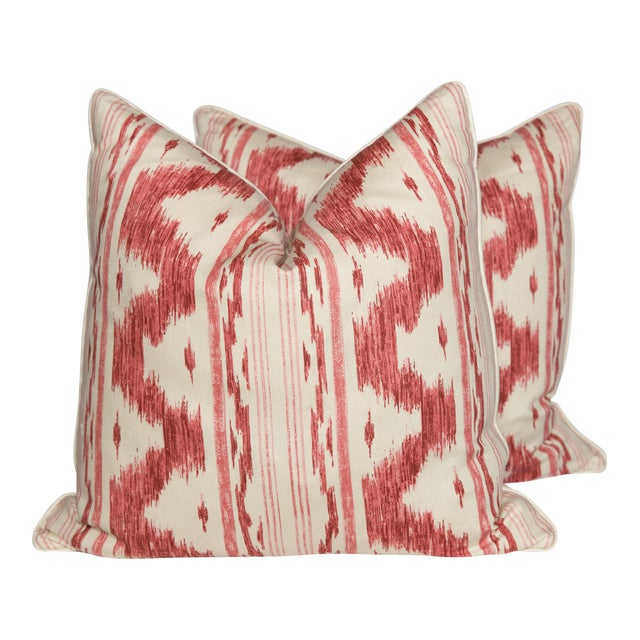 Garnet and Ivory Ikat Linen Pillows, Pair - Image 1 of 4