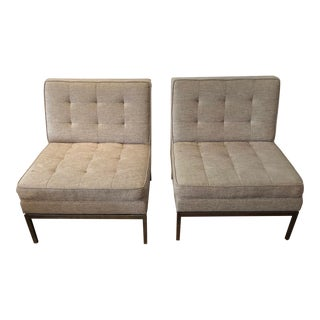 Florence Knoll Gray Upholstered Lounge Chairs - a Pair