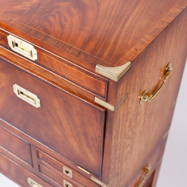 English Campaign Secretary Chest on Stand For Sale In West Palm - Image 6 of 10