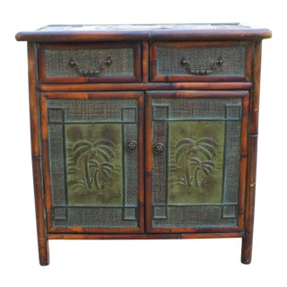 Vintage Real Tortoise Bamboo Cabinet For Sale