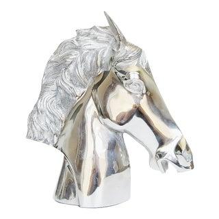 Modernist Chrome Horse Bust For Sale
