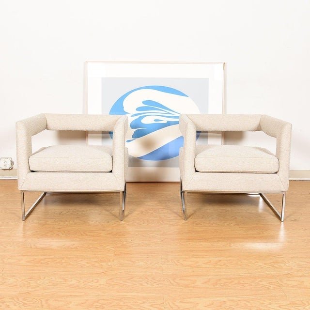 Pair Milo Baughman Open Back Club Chairs For Sale - Image 11 of 13