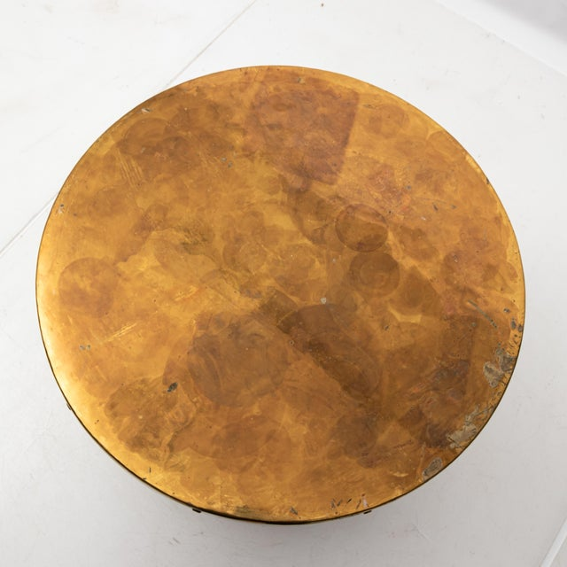 Hollywood Regency Brass Drum Table For Sale - Image 4 of 7