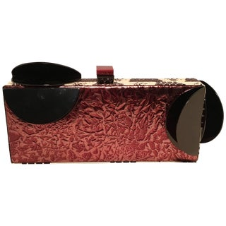 Tonya Hawkes Copper Leather Cow Print Faux Snakeskin Metal Abstract Clutch For Sale