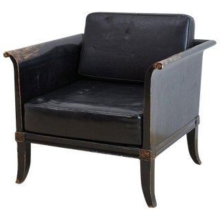 Distressed Black Lacquer Neoclassical Style Armchair For Sale