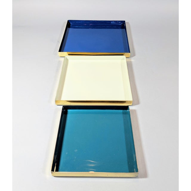 White Brass and Enamel Blue, Teal & White Trays - Set of 3 For Sale - Image 8 of 13