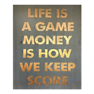 """Contemporary Acrylic on Reclaimed Wood Collage """"Life Is A Game"""" by William Finlayson For Sale"""