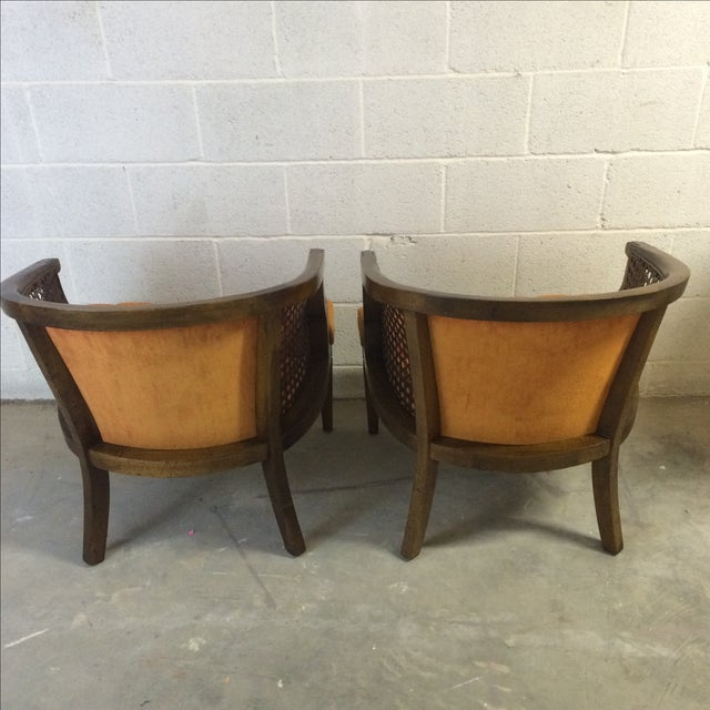 Mid-Century Wood and Cane Barrel Chairs - Pair For Sale - Image 7 of 8