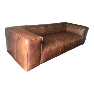Mid-Century Modern Restoration Hardware Fulham Leather Sofa For Sale
