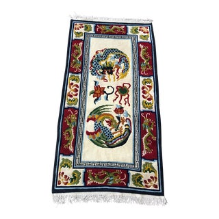Vintage Chinoiserie Dragon Rug For Sale