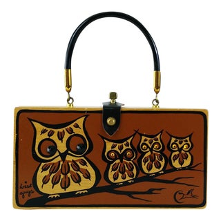 Wise Guys Collins of Texas Owl Box Bag Purse / Enid Collins Wood Cigar Box