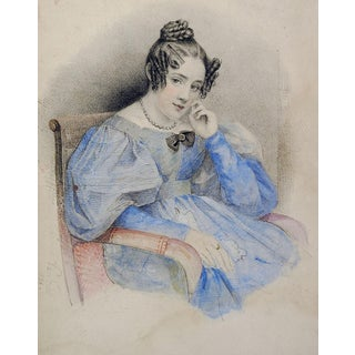 Regency Era Hand Painted Young Women Lithograph Print