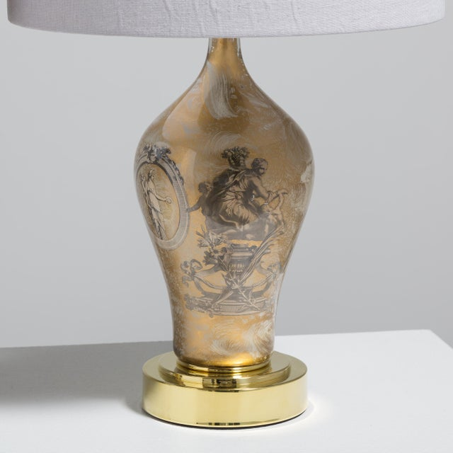 Mid-Century Modern A Pair of Fornasetti Style Eglomise Glass Table Lamps 1970s For Sale - Image 3 of 4