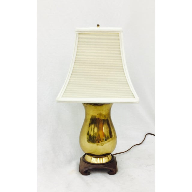 Vintage Brass & Wood Base Table Lamp For Sale In Raleigh - Image 6 of 6