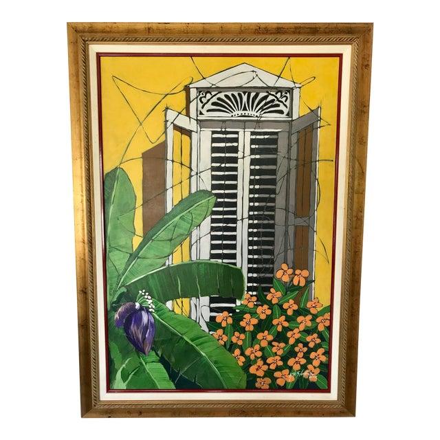 "Original ""Ventana Amarilla"" Oil Painting By Jorge Silvestre For Sale"