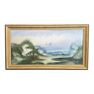 Signed W Zeller Acrylic on Canvas Framed Seascape Painting For Sale