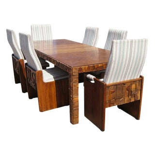 1970s Vintage Lane Brutalist Style Walnut Dining Set - 7 Pieces For Sale