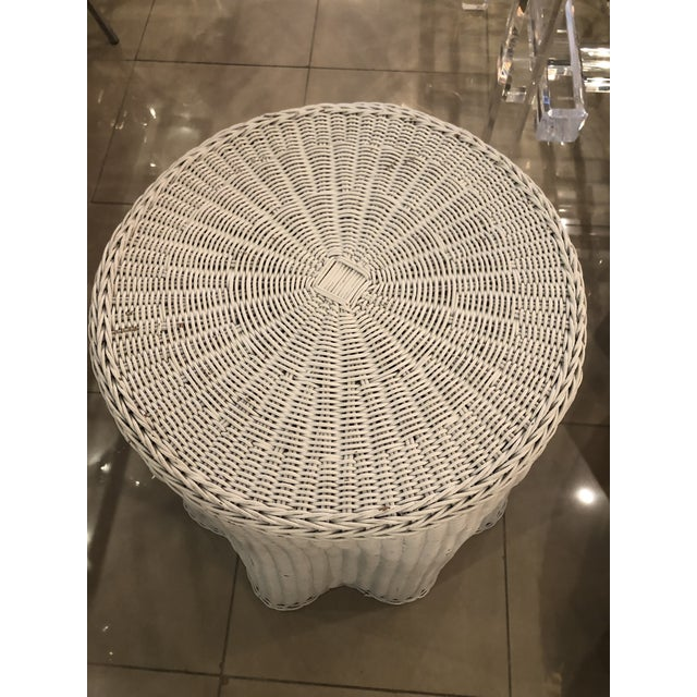 Vintage Draped Wicker Rattan Trompe L Oeil Side End Table Lacquered in Your Choice of Color For Sale - Image 4 of 9