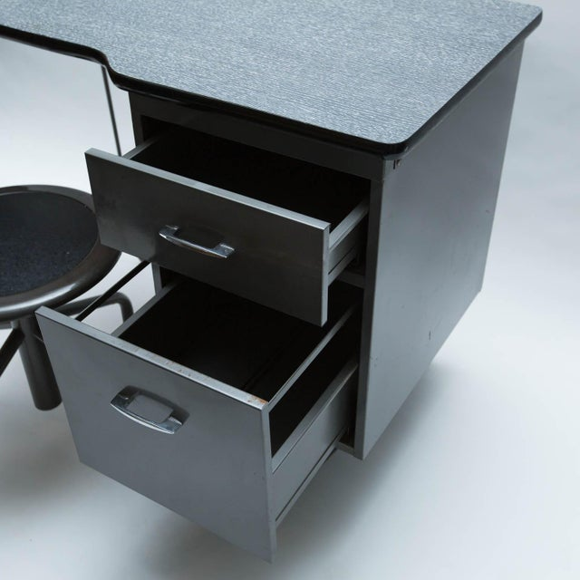 Vintage Metal Student Desk and Swivel Chair - Image 6 of 11
