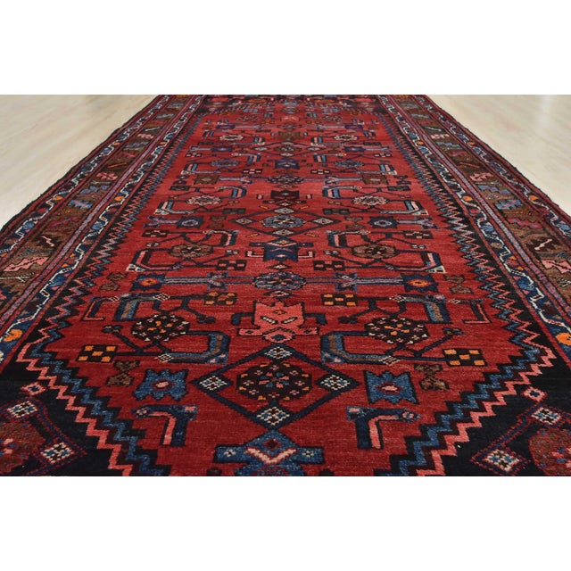 Vintage Persian Hamadan Runner - 4'2'' X 10' For Sale - Image 9 of 13