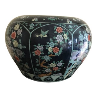 Vintage Mid Century Chinese Ground Porcelain Floral Fish Bowl Planter For Sale