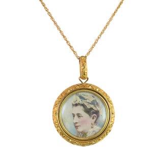 Victorian Gilded Portrait Pendant Necklace 1880s For Sale